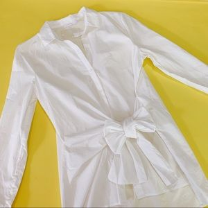 {LUSH} NWOT White Button Down Tie Front Top Blouse